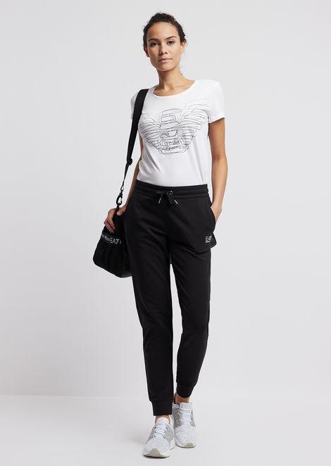 Stretch cotton jogging pants with decorative rhinestones
