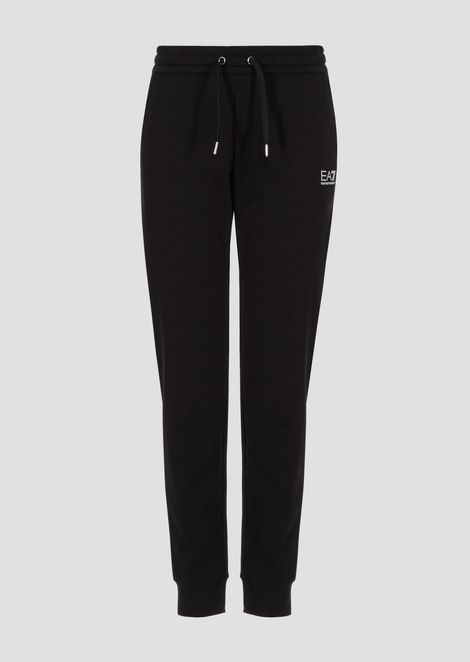 Stretch cotton jogging trousers with decorative rhinestones