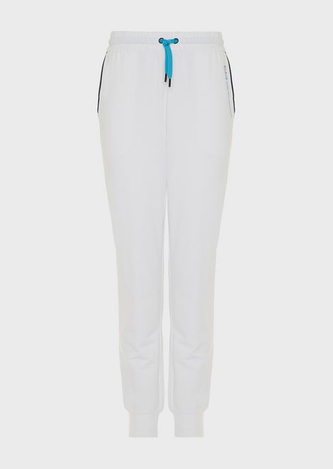 French terry jogging pants with contrasting zipper