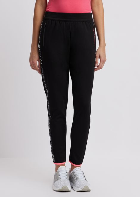 Stretch cotton jogging pants with logo strip