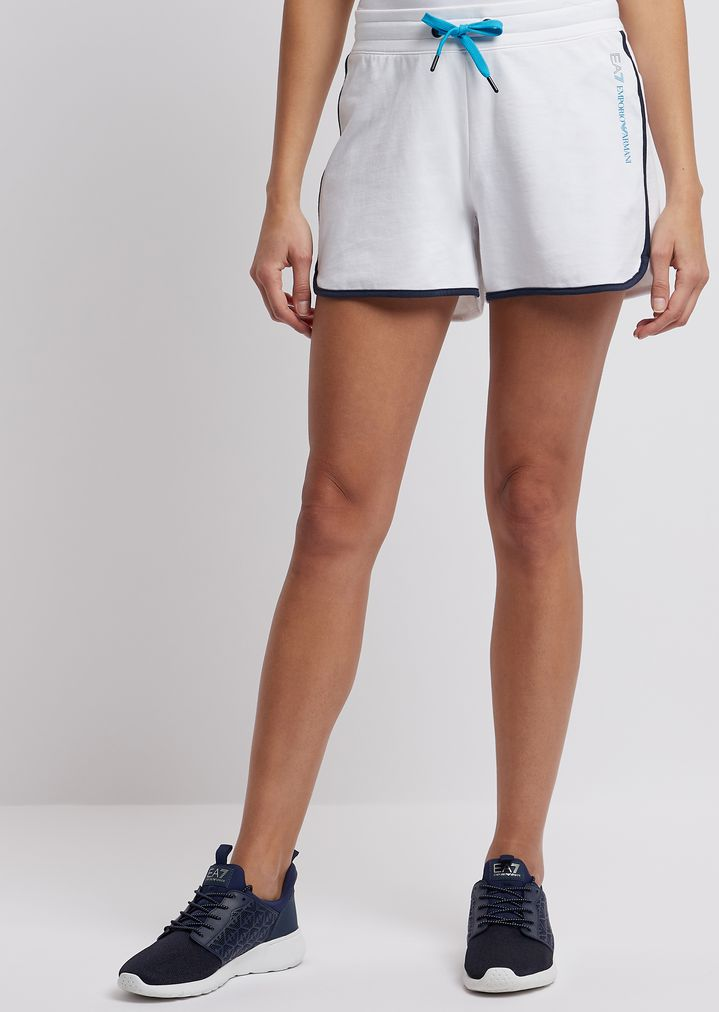 c9c4538d2d Stretch cotton shorts with contrasting piping