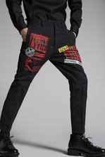 DSQUARED2 Cotton Chino Hockney Pants With Patch Details Trousers Man