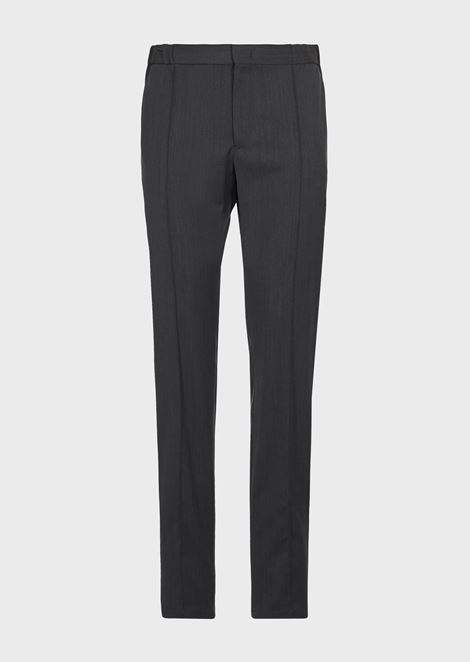 Water repellent serge pants with pleats