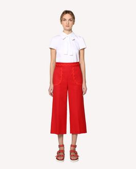 REDValentino Cotton cady cropped trousers with zagana ribbon detail