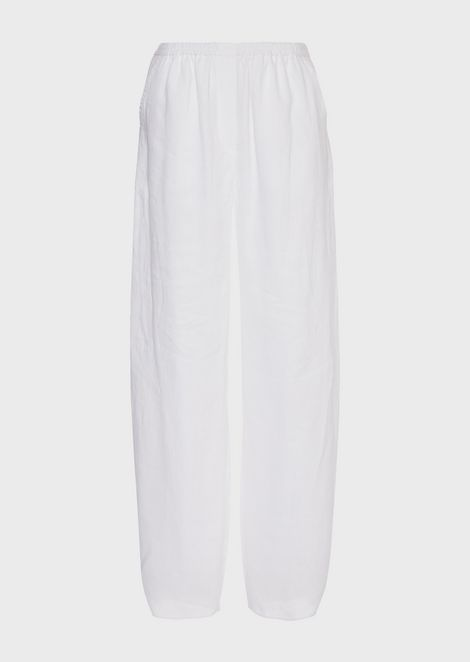 Oversized linen pants with buttons at hem