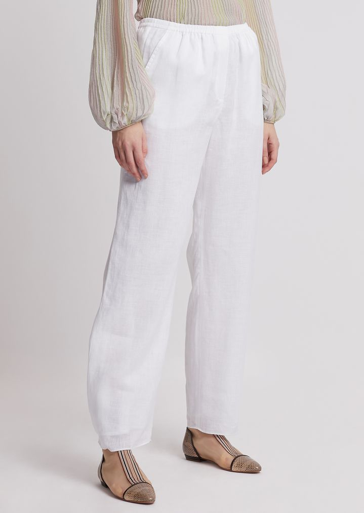 744c36a537 Oversized linen trousers with buttons at hem