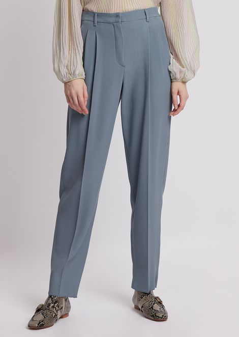 Stretch wool crêpe pants with pleats