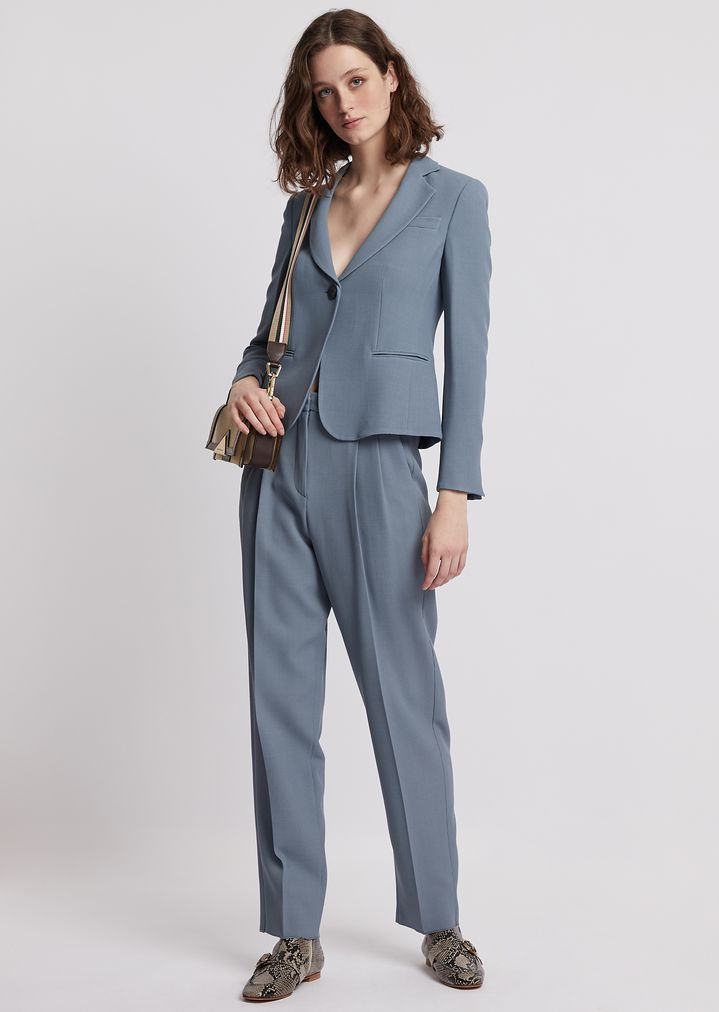93c700b586 Stretch wool crêpe trousers with pleats