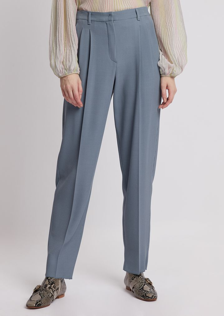 f88f2852ba Stretch wool crêpe trousers with pleats