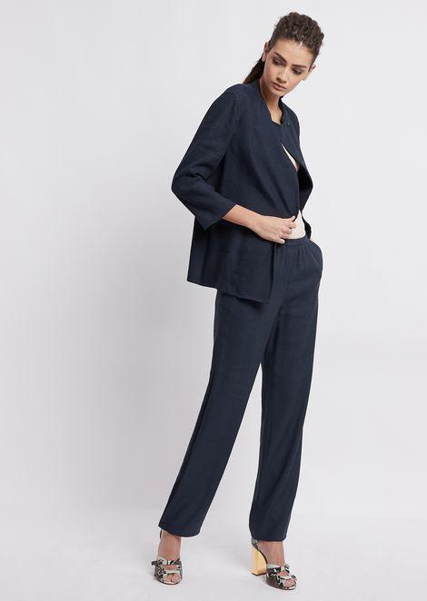 Pantalones de gabardina rústica con goma en la cintura