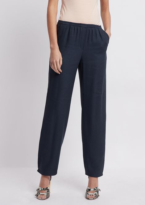 Rustic gabardine trousers with elasticated waist