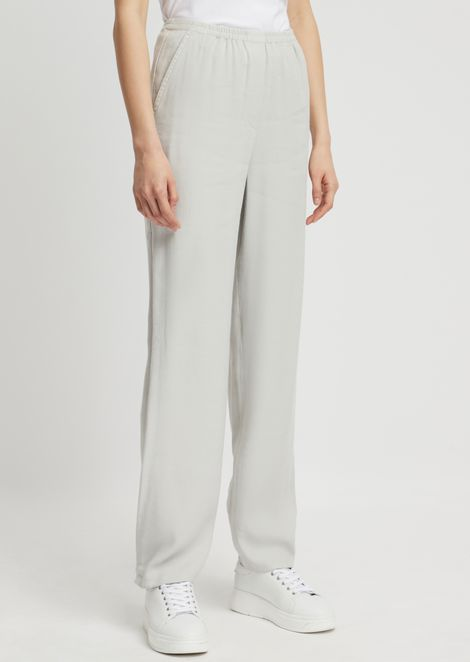 Rustic gabardine pants with stretch waist