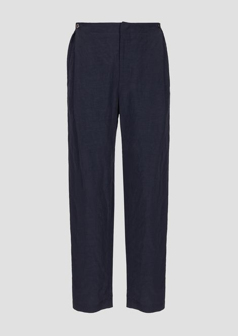 Trousers in viscose and linen