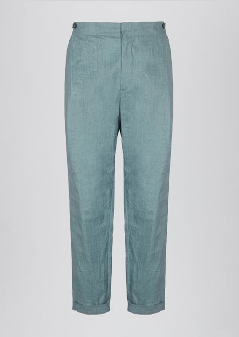 Pants in coated linen
