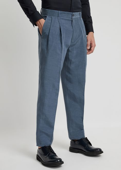 Pants in cupro linen with darts