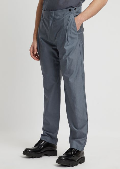 Trousers in water repellent silk and wool with side buttons