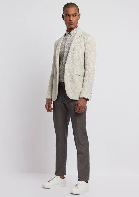 Garment-dyed stretch cotton trousers
