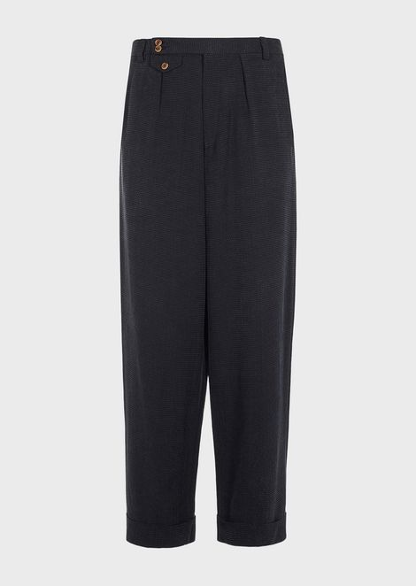 Oversized trousers in cupro serge with discharge printed pattern