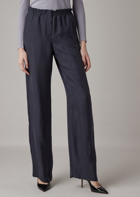 Oversized cupro jacquard pants with chevron pattern