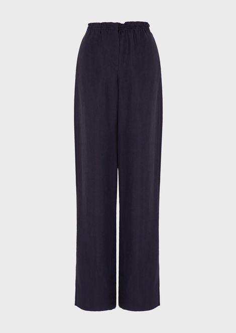 Oversized cupro jacquard pants with chevron pattern