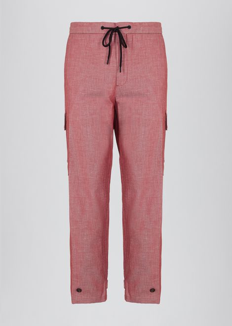 Denim-effect twill jogging trousers