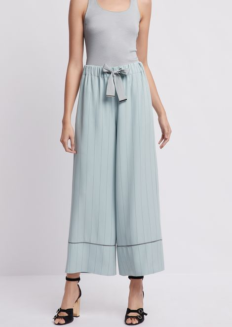 Palazzo pants in pinstripe cady with bow at the waist