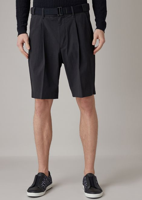 Bermuda shorts in plain-woven stretch seersucker with belt