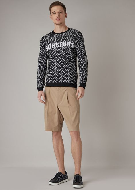 Bermuda shorts in plain-woven stretch seersucker with belt