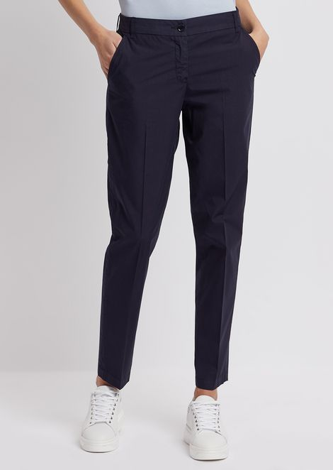 Chino trousers in garment-dyed cotton pelleovo