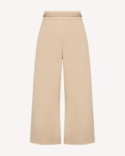 Cotton gabardine cropped pants with braided detail