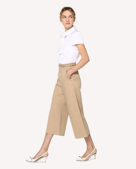 REDValentino Cotton gabardine cropped pants with braided detail