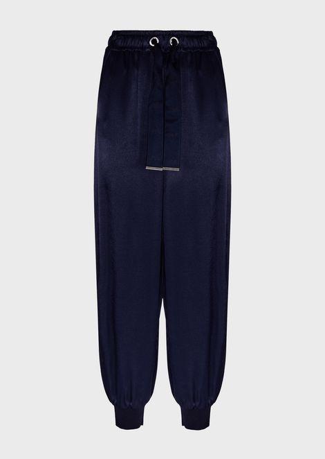 Pantalones de chándal de raso con tira ajustable con logotipo en la cintura