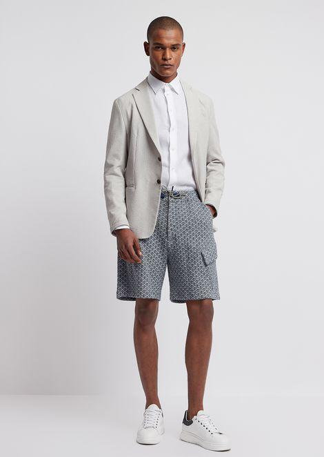 Cotton and linen jacquard-stitch Bermuda shorts