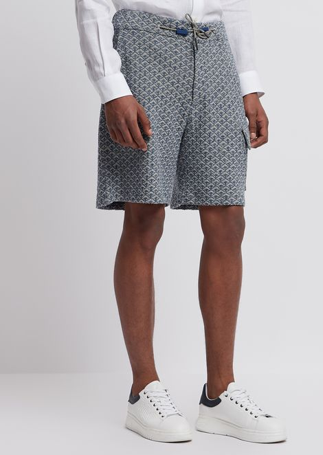 Cotton and linen jacquard-stitch Bermuda shorts