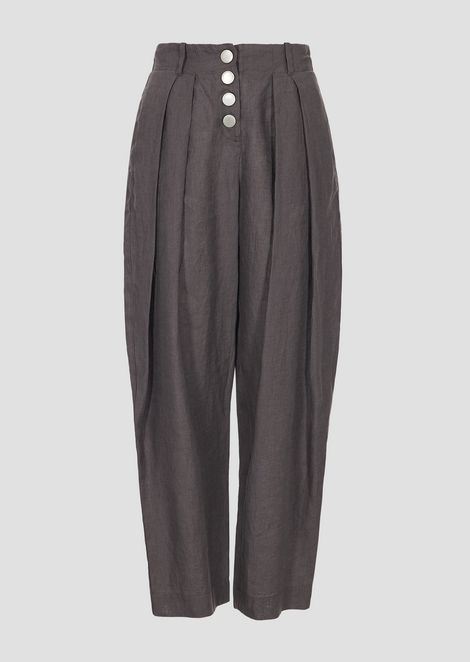 Linen pants with cropped hem and inverted pleats
