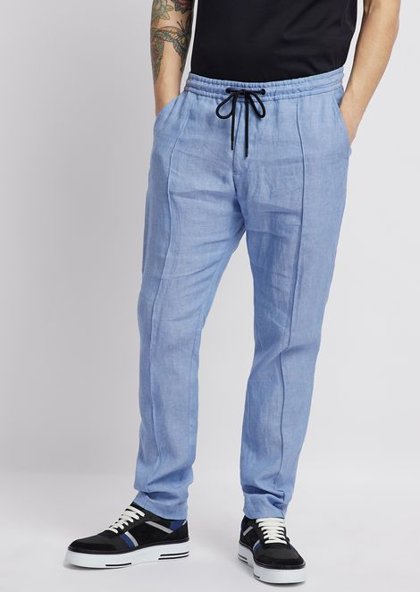 Pantaloni in lino chambray con coulisse in vita