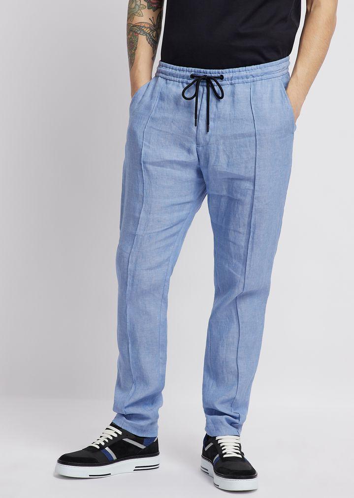 Pantalones de algodón elástico ultraligero con cintura con cordón ... 4b8cc1650c63