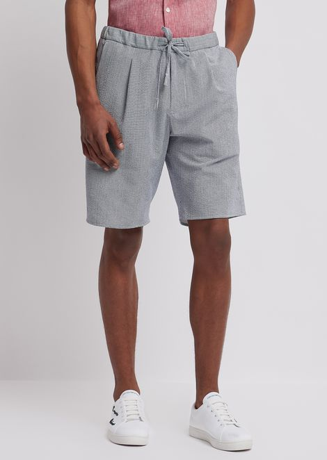 Seersucker Bermuda shorts with fine-stripe print and elasticated waist