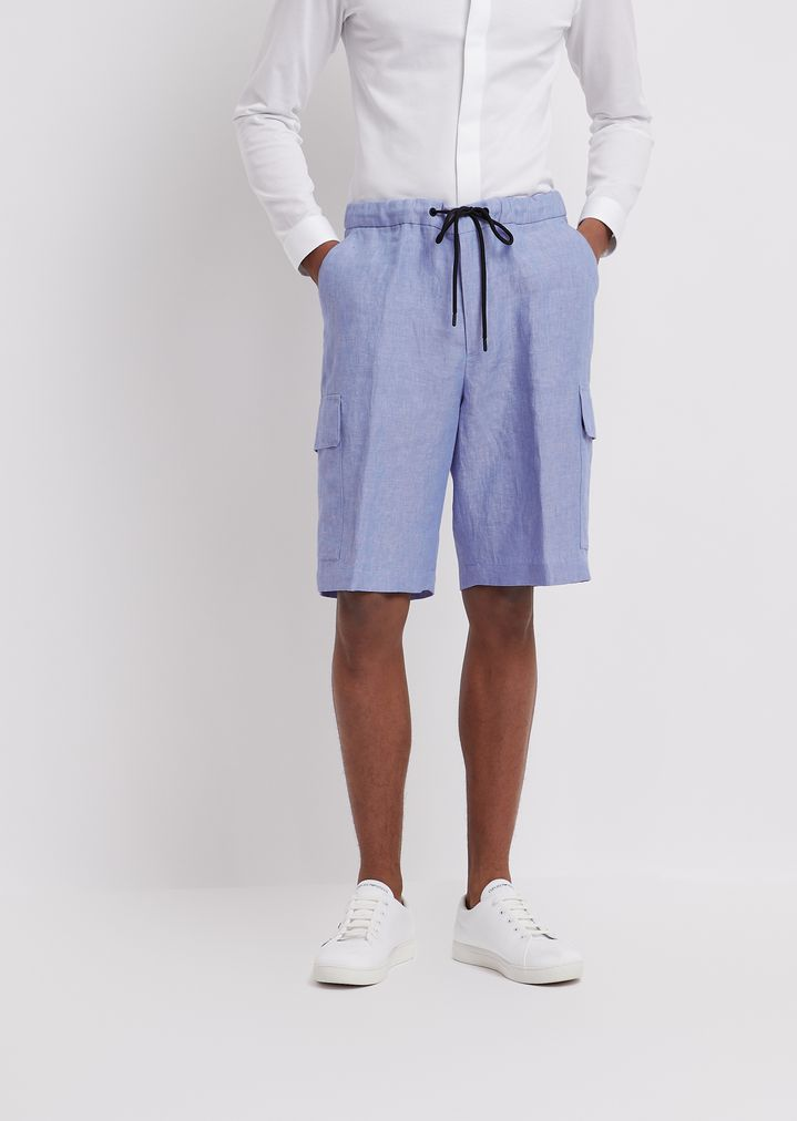 6cf76d25ea Bermuda shorts in chambray linen with cargo pockets and elasticated waist