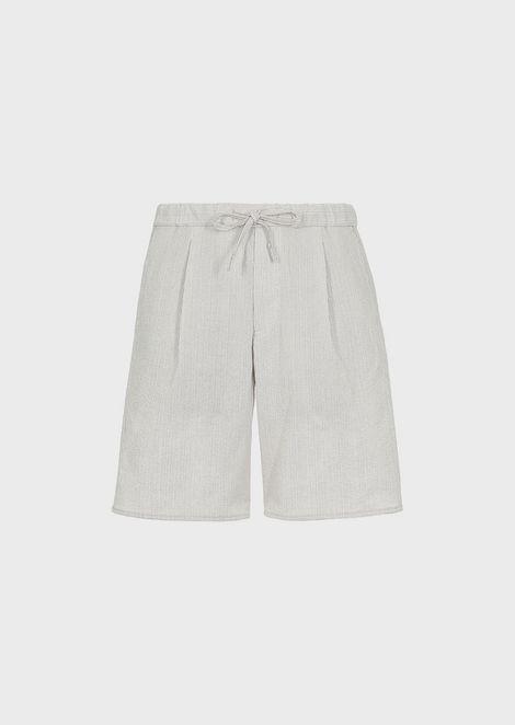 Seersucker Bermuda shorts with fine stripe print and stretch waist