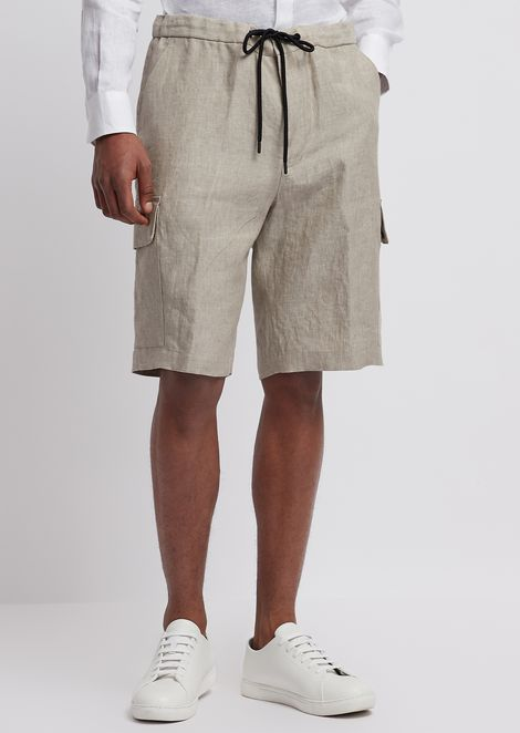 Bermuda shorts in chambray linen with cargo pockets and elasticated waist