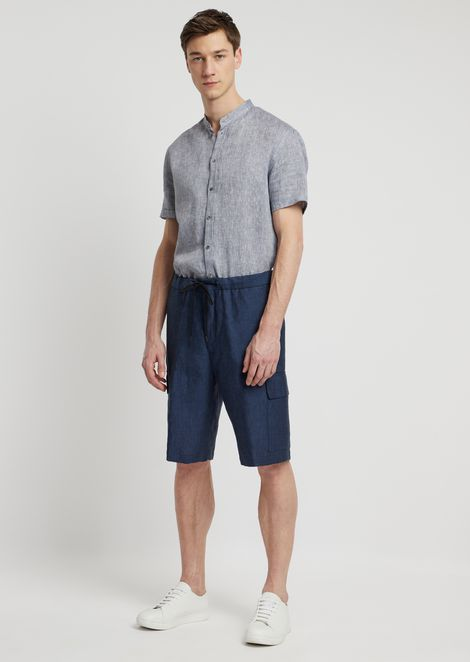 Bermuda shorts in chambray linen with cargo pockets and stretch waist