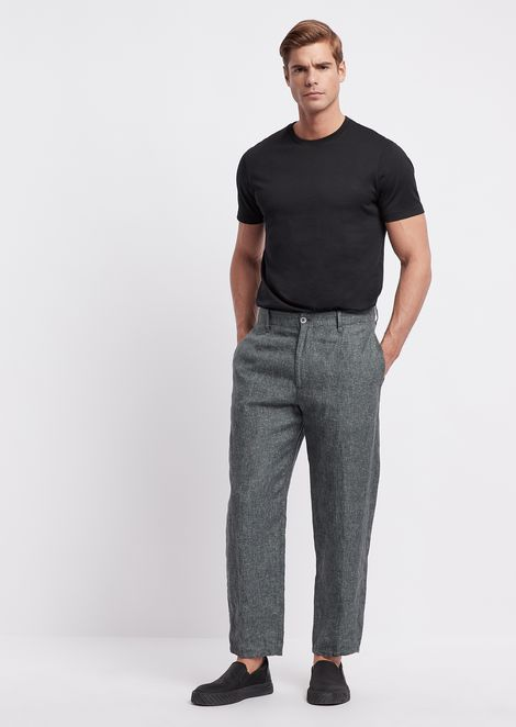 Oversized flax linen trousers with printed yarn