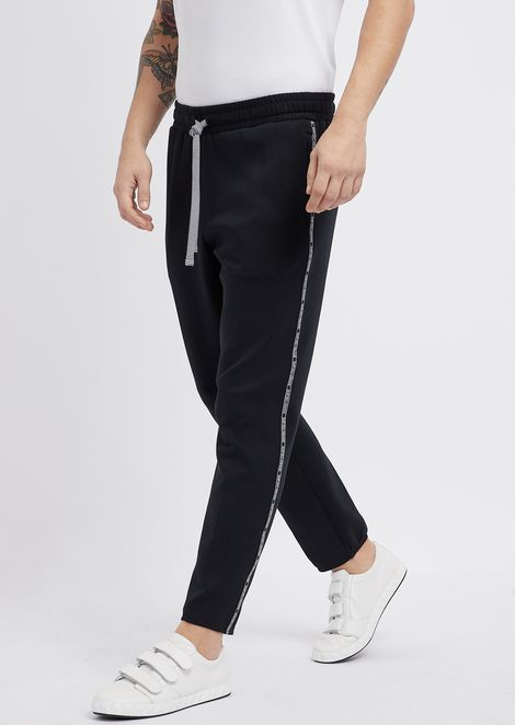 Superlight scuba fabric jogging pants with logo bands