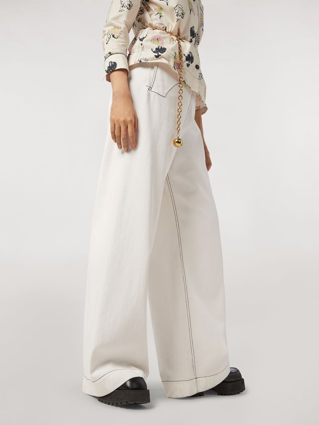 Marni Trousers in raw cotton drill Woman - 5