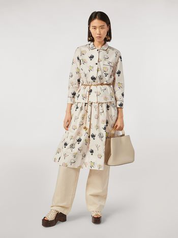 Marni Cotton and linen drill pants with side belts Woman