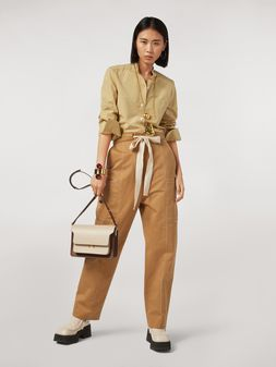 Marni Cotton and linen drill pants with maxi pockets Woman