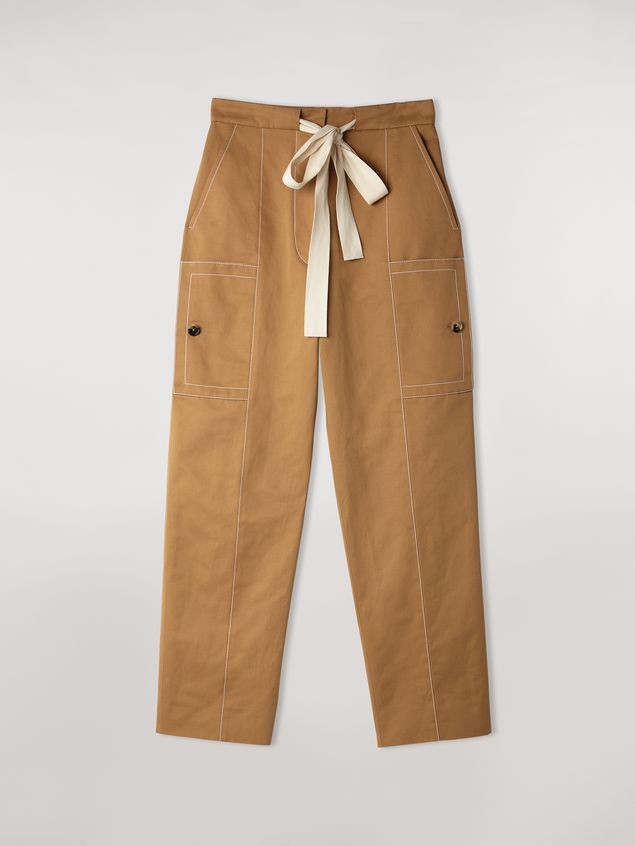 Marni Cotton and linen drill trousers with maxi pockets Woman - 2