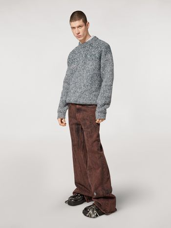 Marni 5-pockets over-dyed bleached denim pants Man f