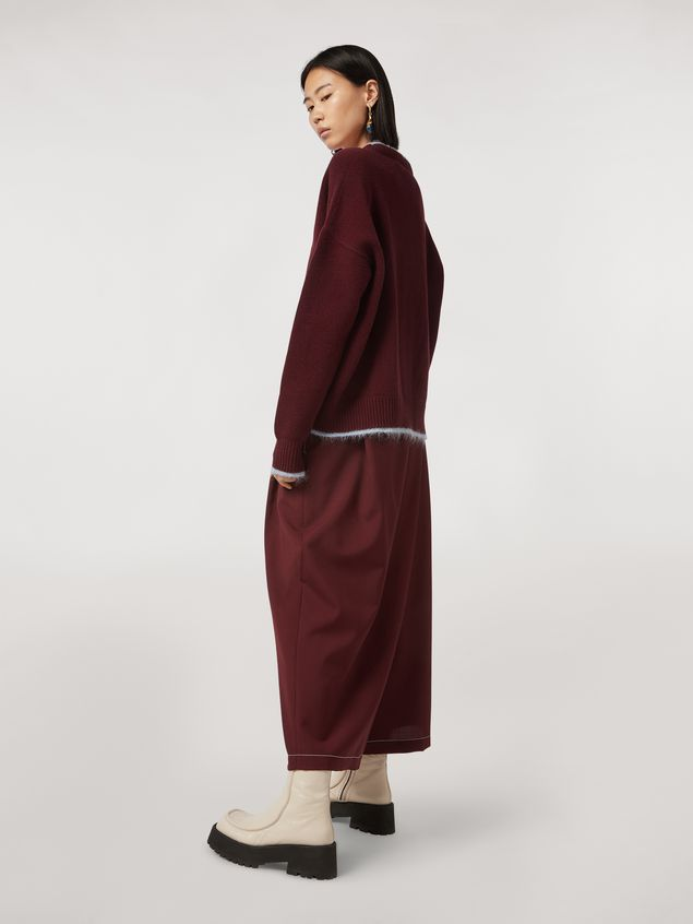 Marni Criss-cross tropical wool trousers burgundy Woman